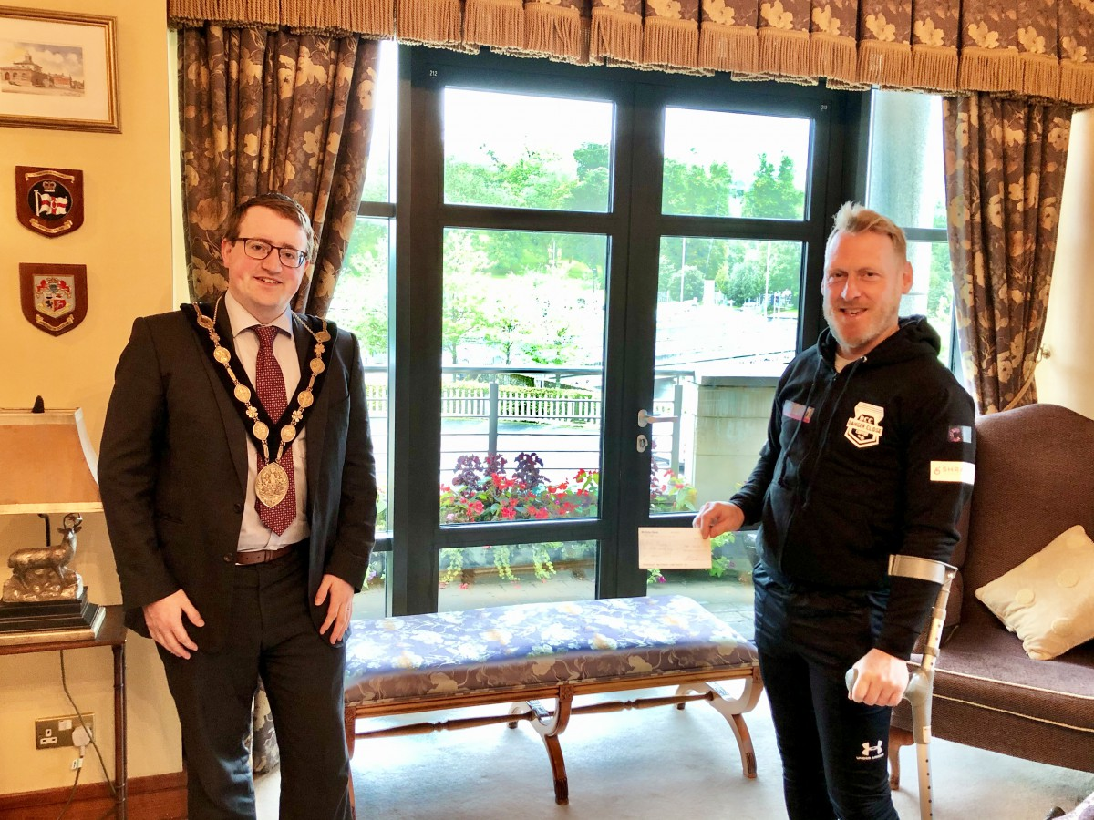 The Mayor, Councillor Hon Nicholas Trimble, pictured with Mark Clougherty
