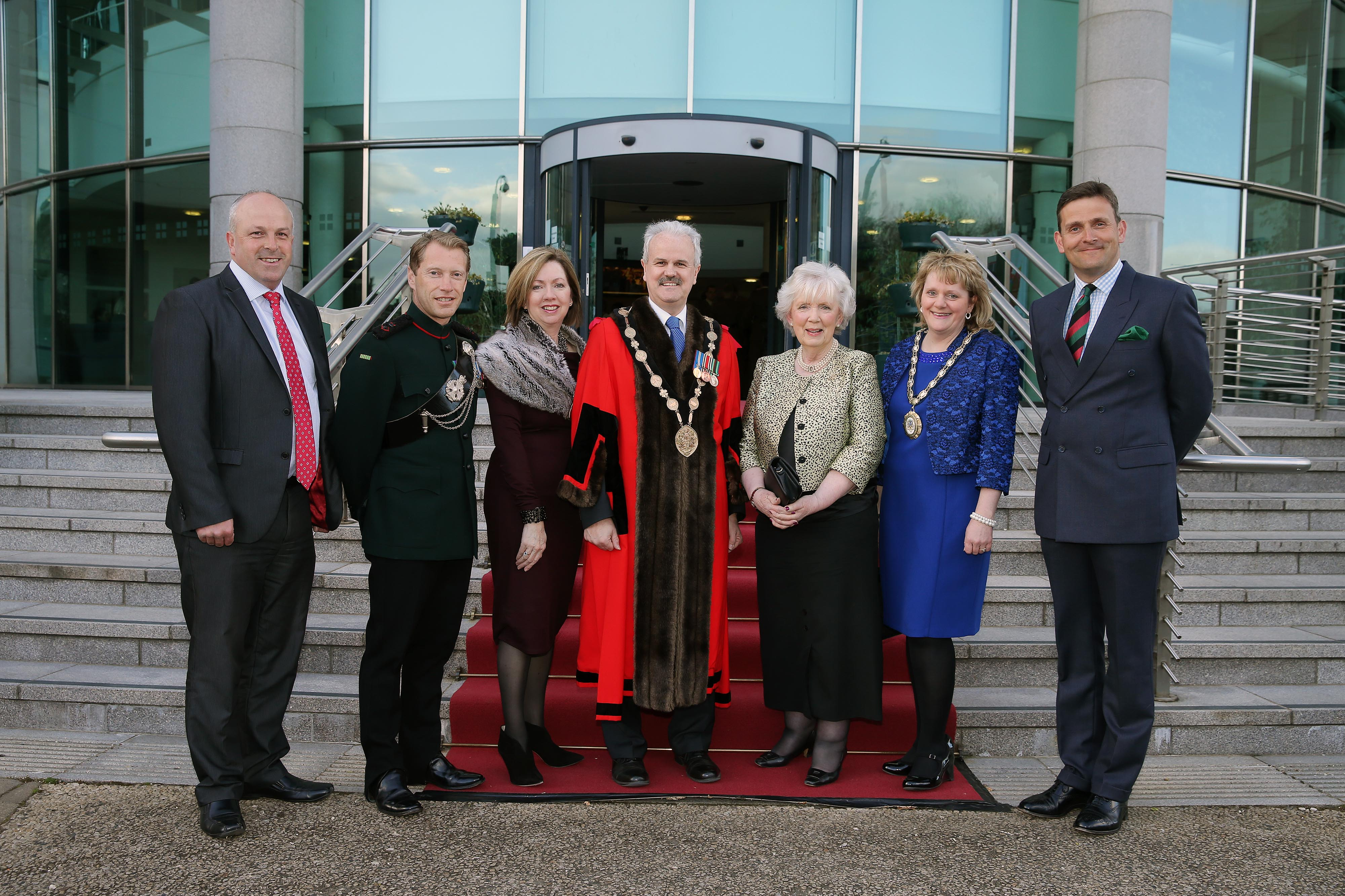 Pictured L R Are Alderman James Tinsley Lt Col Neil Bellamy Commanding Officer 2 Rifles Dr Theresa Donaldson Chief Executive Lisburn Castlereagh