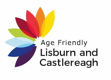 Age Friendly Lisburn & Castlereagh logo which is these words and a half flower with different coloured petals to represent the eight domains of age friendly status