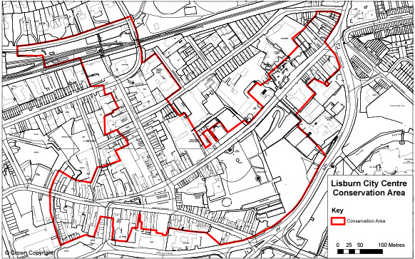 Map showing the Lisburn Conservation Area