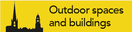yellow box with black writing which says outdoor spaces and buildings  with a picture of a building