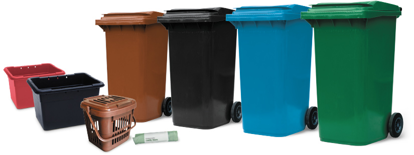image of recycling bins and boxes
