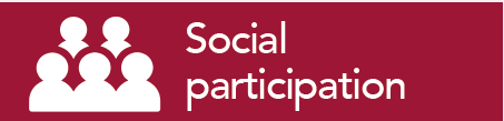 burgundy box with white writing saying social participation and an image of a group of people