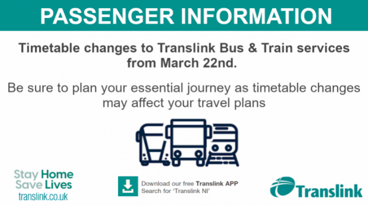 Translink announces enhanced services from 22nd March (with the phased return of Schools)