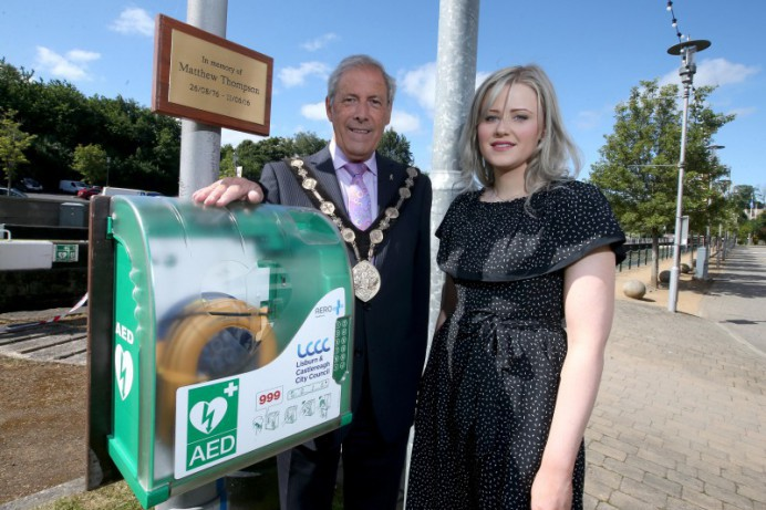 New defibrillator in honour of Matthew Thompson