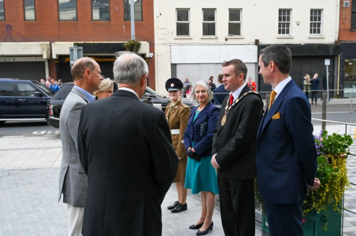 Mayor welcomes Earl and Countess of Wessex to Irish Linen Centre & Lisburn Museum